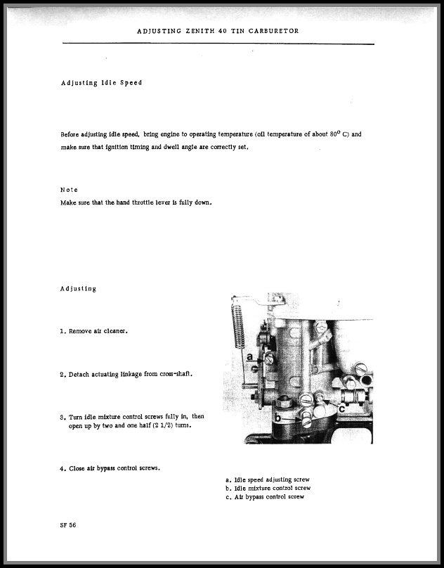 Zenith 40 TIN Carburettor Manual